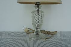 Lamp 9 high pressed or molded clear glass by BlueBarnCollectibles