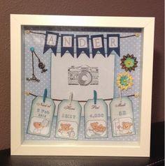 Los detalles de Loli: Cuadro para bebés con datos del nacimiento Diy Wedding Gifts, Diy Gifts, Diy Y Manualidades, Baby Frame, Creative Pictures, Frame Crafts, Niece And Nephew, Scrapbooking, Shadow Box