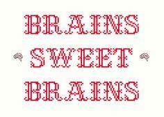 2 Cross Stitch Patterns -- Brains sweet brains pattern set