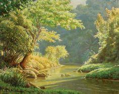 EDGAR WALTER - Paisagem Óleo sobre tela - 65 x 80 - 1982 Com o término do inverno e a chegada das primeiras chuvas de primavera, a vegetação se enche de brotos e dá um espetáculo à parte sob a luz da manhã.