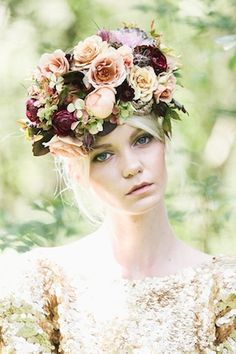 Berry hued flower crown | Lara Hotz Photography for Hooray Magazine with styling by Stefanie Ingram, beauty by Liv Lundelius Makeup Artist and floral design by Jardine Botanic Floral Styling | see more on: http://burnettsboards.com/2014/07/ophelia-enchanting-fashion-boudoir-editorial/