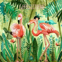 Een frisse trendy verjaardagskaart met 2 flamingo's, verkrijgbaar bij #kaartje2go voor €1,89