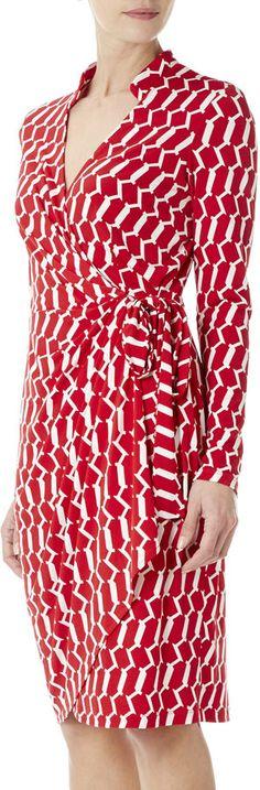 Wallis Red Geo Print Wrap Dress on shopstyle.com