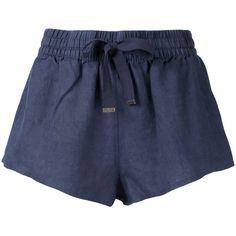 Venroy lounge drawstring shorts ($56) ❤ liked on Polyvore featuring shorts, blue, drawstring shorts, blue shorts, draw string shorts, linen shorts and linen drawstring shorts