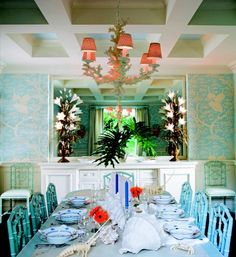 Celerie Kemble's phenomenal turquoise acid trip of a tropical dining room...love.