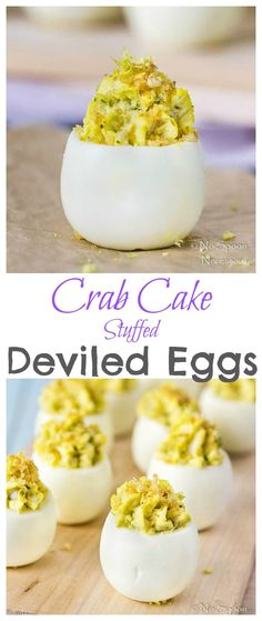 Crab Cake Stuffed Deviled Eggs [with recipe video] Crab Cake Stuffed Deviled Eggs-long Delicious Deviled Egg Recipe, Crab Deviled Eggs Recipe, Devilled Eggs Recipe Best, Crab Recipes, Egg Recipes, Appetizer Recipes, Cooking Recipes, Party Appetizers, Yummy Appetizers