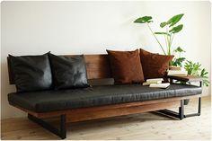 leather + wood sofa