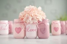 Glitter & Painted Mason Jar Centerpieces & Home Decor by SprinkledandPainted - Valentines Day Cute Valentines Day Gifts, Valentines Day Hearts, Valentines Day Decorations, Mason Jar Centerpieces, Centerpiece Decorations, Vases Decor, Mason Jar Crafts, Mason Jar Diy, Glitter Paint Mason Jars