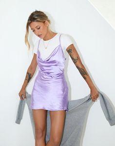 Slip Dress Outfit, Mini Slip Dress, Purple Mini Dresses, Summer Dresses, Purple Outfits, Summer Outfits, Satin Dresses, Sexy Dresses, Beautiful Dresses