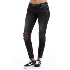 Women's True Religion Brand Jeans Halle Ankle Skinny Jeans ($229) ❤ liked on Polyvore featuring jeans, raven fever, torn skinny jeans, destructed skinny jeans, true religion jeans, destroyed jeans and torn jeans