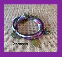 Bracelet liberty betsy bougainvillier et sequin gris : Bracelet par crocmyys