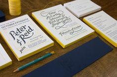Perky Bros invites for Peter and Reid. Modern letterpress. Great color palette.