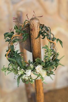 Ivory and Green Vine Floral Wreath  | Carlie Statsky Photography | Earthy and Organic Wedding Shoot in Soft Neutrals and Copper