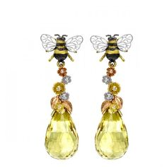 Yellow,White & Rose Gold Yellow Beryl and Diamond Bee & Blossom Drop Earrings