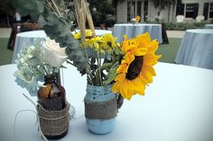 Rustic DIY Sunflower wedding centerpiece
