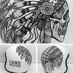 Nice custom helmet by @rbonaci on Instagram! #indianskull #customhelmet #biltwell #biltwellbonanza