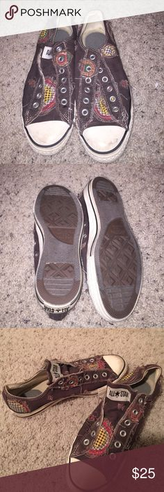 Converse Slip ons Brown patchwork Converse slip on shoes. In really good condition Converse Shoes Athletic Shoes