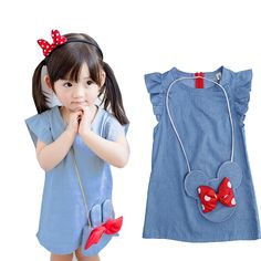 Stylsih Cute Baby Toddlers Kids Girl Solid Dress Minnie Mouse