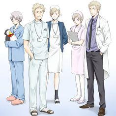 Mathias on sairaanhoitaja, Berwald lääkäri ja Emil potilas... JA LUKAS JA TIMO ON PUETTU TYTÖIKSI?!? Miksi aina näin...