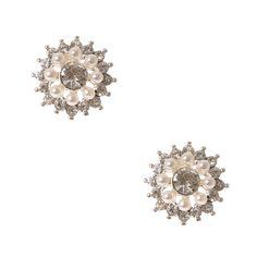 Pearl and Crystal Flower Stud Earrings