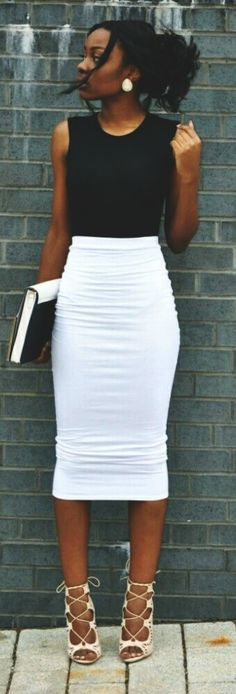 <3 Nothing can replace the aura of Pencil Skirts in work <3  45 Charming Summer Work Outfits to be Fashionista in your Office