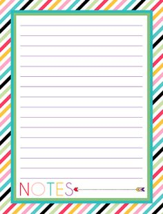 Free Printable Notes Pages. This is a part of a series of over 30 free organizational printables from ishouldbemoppingthefloor.com