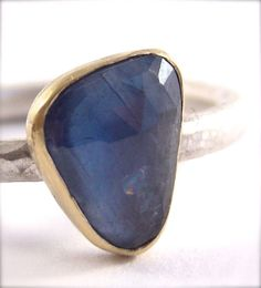 Custom Made Rose Cut Sapphire Modern Bezel Ring Sterling Silver And 18 Karat Gold