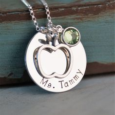 Personalized Teacher Jewelry Hand Stamped Necklace