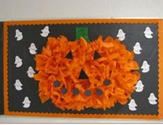 made this pumpkin from tissue paper for her Halloween bulletin board- it totally rocks! October Bulletin Boards, Halloween Bulletin Boards, Library Bulletin Boards, Preschool Bulletin Boards, Theme Halloween, Halloween Door, Halloween Activities, Halloween Crafts, Halloween Classroom Decorations