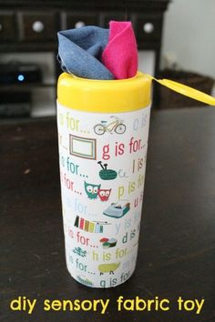 Make your own DIY toy: sensory fabric container | #BabyCenterBlog