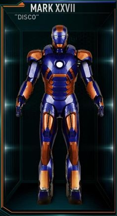This armor is the twenty-seventh Iron Man suit created by Tony Stark, and one of the many armors he developed after the battle for New York against Loki and the Chitauri. The attack had left him with the feeling that the world couldn't be safe for long, and that he needed to build more suits before the next time the Earth was in danger. The Disco suit was among those summoned by Stark to battle Extremis-enhanced soldiers assisting Aldrich Killian's plot. It was controlled at the time by...