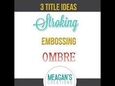Tutorial: 3 Title Ideas -