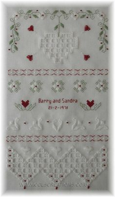 Col's Creations - Traditional Hardanger Designs - Ruby Wedding Sampler - Part of the Samplers Collection.
