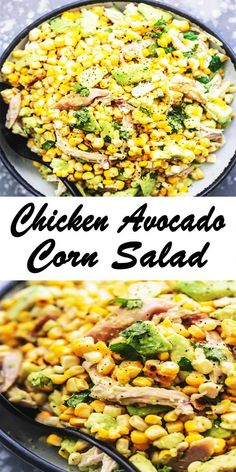 This Chicken Avocado Corn Salad is This dish is chock full of delicious chicken, sweet corn, chili powder, creamy avocado and lime. This delicious dish is great for sharing, but you may want to keep it your own. #chickenrecipes #salad #appetizer #sidedish #healthyrecipe #easyrecipe #cornsalad Corn Avocado Salad, Corn Salads, Chicken Works, How To Cook Chicken, Tasty Dishes, Side Dishes, Health Dinner, Easy Food To Make, Yum Yum Chicken