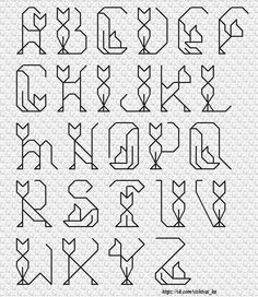 Cat Alphabet in stitches. Bullet Journal Font, Journal Fonts, Bullet Journal Ideas Pages, Bullet Journal Inspiration, Bullet Font, Bullet Journal Front Page, Journaling, Hand Lettering Alphabet, Calligraphy Alphabet