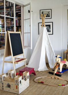 Corner where brown chair is currently.  Pretty sure I could make this.  Minnie Mortimer Teepee // Kids Room