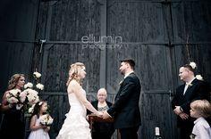 Ceremony in front of the barn door Bridesmaid Dresses, Wedding Dresses, Real Weddings, Shots, Barn, Bride Maid Dresses, Bride Gowns, Wedding Gowns, Weding Dresses