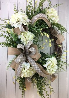 Front door wreath Hydrangea Wreath White Hydrangea di Keleas