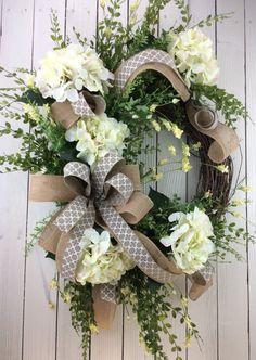 Front door wreath Hydrangea Wreath White Hydrangea di Keleas