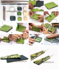 polymer clay mokume gane green cane step by step free tutorial -DIY fimo - pasta