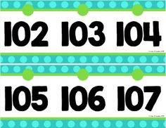 Need a new number line visual in your classroom? Try this turquoise and lime polka dot one - it goes from 0 to 125.