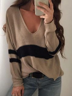 Khaki Color Block Patched Striped V-neck Long Sleeve Casual Pullover Sweater Casual Sweaters, Black Sweaters, Sweaters For Women, Striped Sweaters, Fall Sweaters, Long Sweaters, Pullover Outfit, Pullover Sweaters, Knitting Sweaters