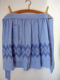 Vintage Handmade Blue Gingham Half Apron.  I have one my grandmomma made just like this.
