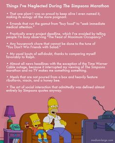 Things I've Neglected During The Simpsons Marathon