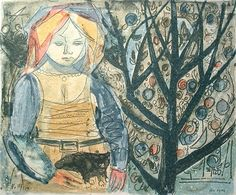 """Kai Fjell (1907-1989) - """"Pike med katt"""" (Girl with cat) - Lithograph"""