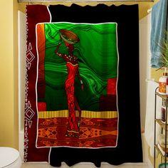 Found it at Wayfair - African Beauty I Shower Curtain Gift Card Sale, Black Curtains, Christmas Storage, Shower Liner, African Beauty, State Art, Seasonal Decor, Graphic Prints, Vibrant Colors
