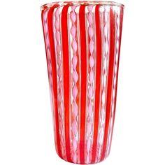 Murano Red Stripes Pink Ribbons Gold Flecks Italian Art Glass Flower Vase   1stdibs.com