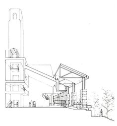 The_Performing_Arts_Center-Cornell_University-James_Stirling_&_Michael_Wilford ~GMIT ODT James Stirling, Section Drawing, Cornell University, The Outsiders, How To Draw Hands, Performing Arts, Architecture, Thesis, City
