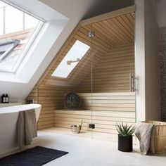 Post with 0 votes and 2086 views. [Room] Shower, bath and sauna area in a penthouse loft located in Berlin, Germany. Interior Design Examples, Interior Design Inspiration, Design Ideas, Bad Inspiration, Bathroom Inspiration, Casa Loft, Home Spa, Penthouses, Modern House Design