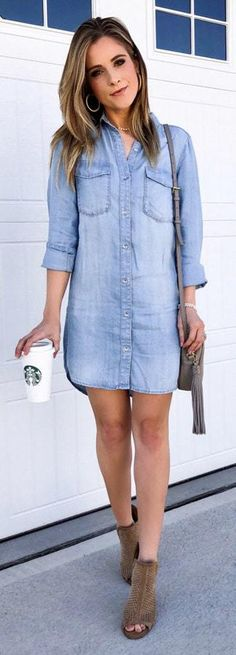 Summer Spring Outfits To Copy Now Summer Outfits To Copy Now 1 Jeans Outfit Summer, Cute Spring Outfits, Cute Outfits, Women Casual Outfits, Summer Boots, Spring Summer, Chambray Dress, Jeans Dress, Harem Jeans